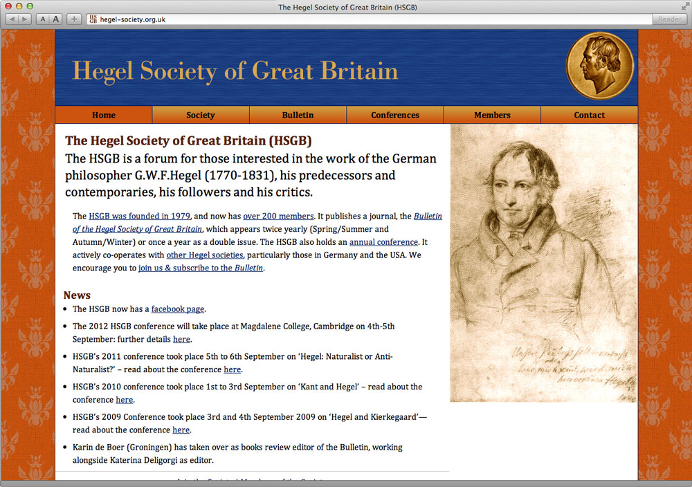 Hegel Society Website Homepage